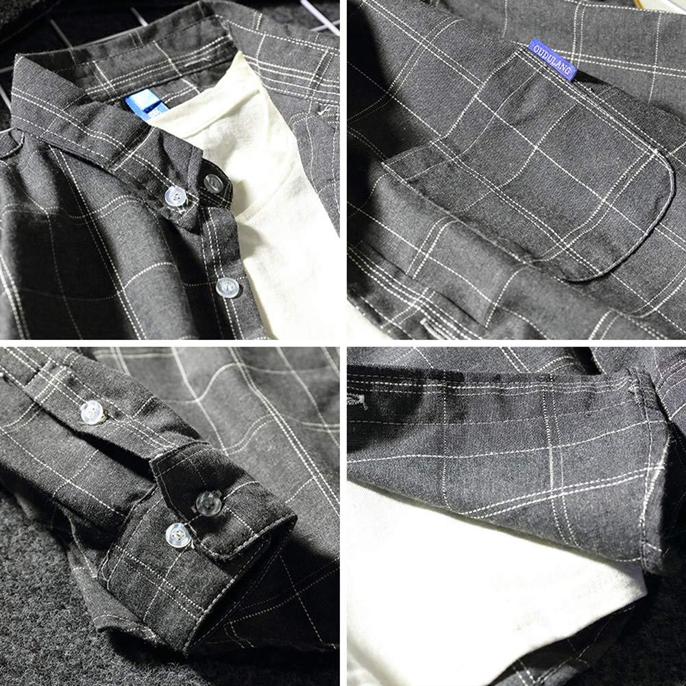 Chinashow Mens Long Sleeve Gingham Shirt Button-Up Shirt Stitching Collar Dress Shirt for Boys Gray