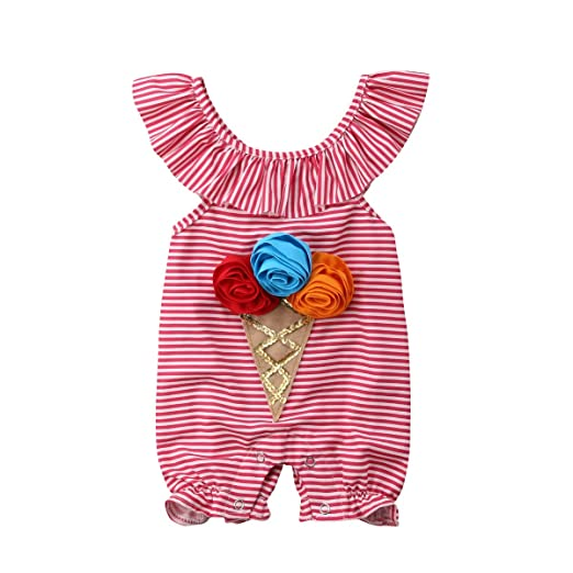 eeecca5e4ae1 Amazon.com  US Baby Toddler Cute Red and White Striped Flower ...