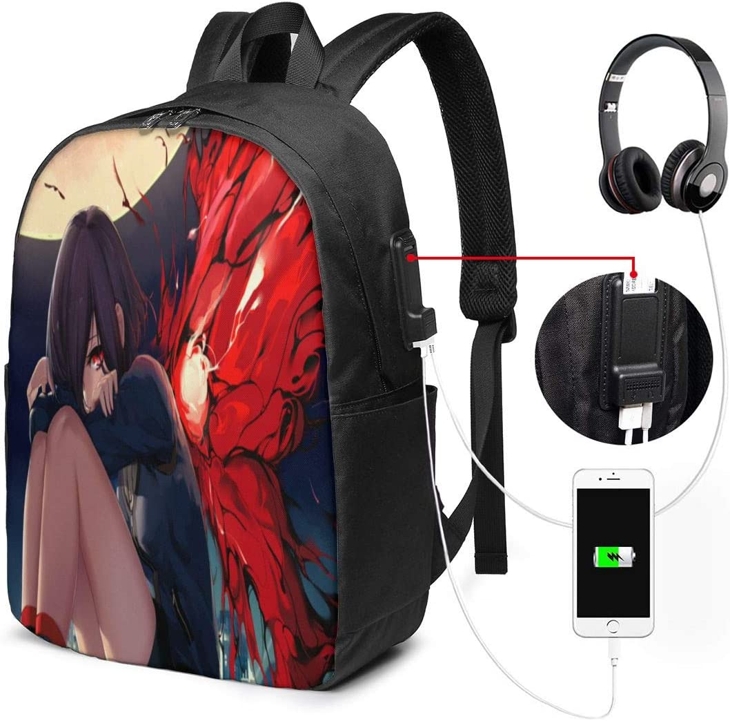 Anime Tokyo Ghoul Laptop Backpack with USB Charging Port Headphone,Large Capacity Business Commute Backpack,College Women Men Backpack Travel Bag 17 Inch