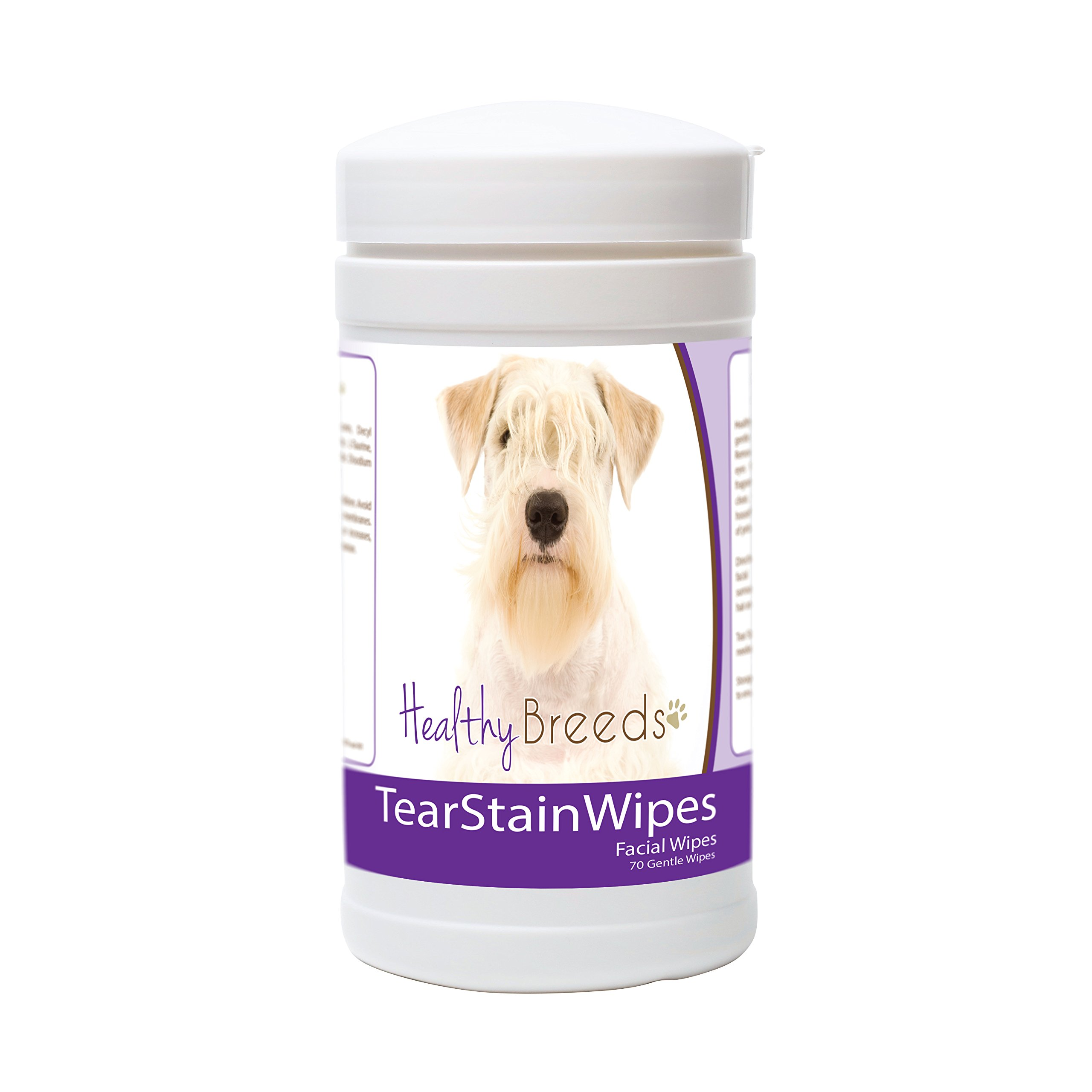 Healthy Breeds Dog Tear Stain & Facial Wipes for Sealyham Terrier - Over 200 Breeds - Facial Eye Cleaner - 70 Wipes - Cleans Crust Stains Mucus Saliva - Mild Gentle Fragrance Free