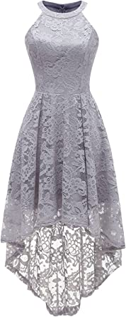 TALLA XS. Dressystar Rockabilly Vestido de cóctel para Mujer, asimétrico de Encaje Gris XS