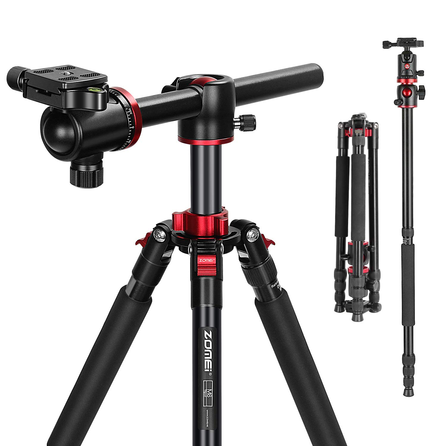 ZOMEi 75'' Tripod,Camera Tripod for DSLR,Ball Head Tripod Professional Tripods 4 Section Horizontal Tripod with 360 Degree Ball Head Plate for Canon DSLR DV Scope Camcorder and Projector by ZoMei