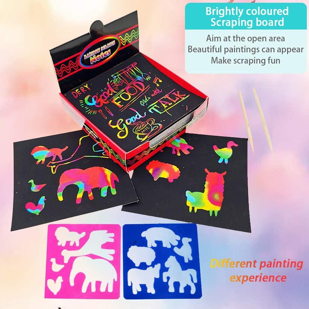 100 PCS Holographic Rainbow Scratch Art Paper with 2 Stylus,2 Stencils Scratch Magic Notes Multicolor Scratch Notes Set