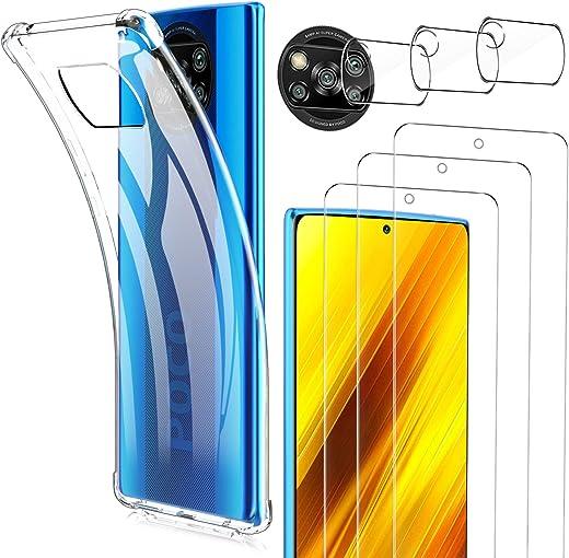 Luibor [7 in 1] Cristal Templado Xiaomi POCO X3 NFC + Funda POCO X3 NFC + Cámara Protector de Pantalla,[9H Dureza] [Compatible con la Funda] [Equipado con Soporte de Montaje más Seguro]