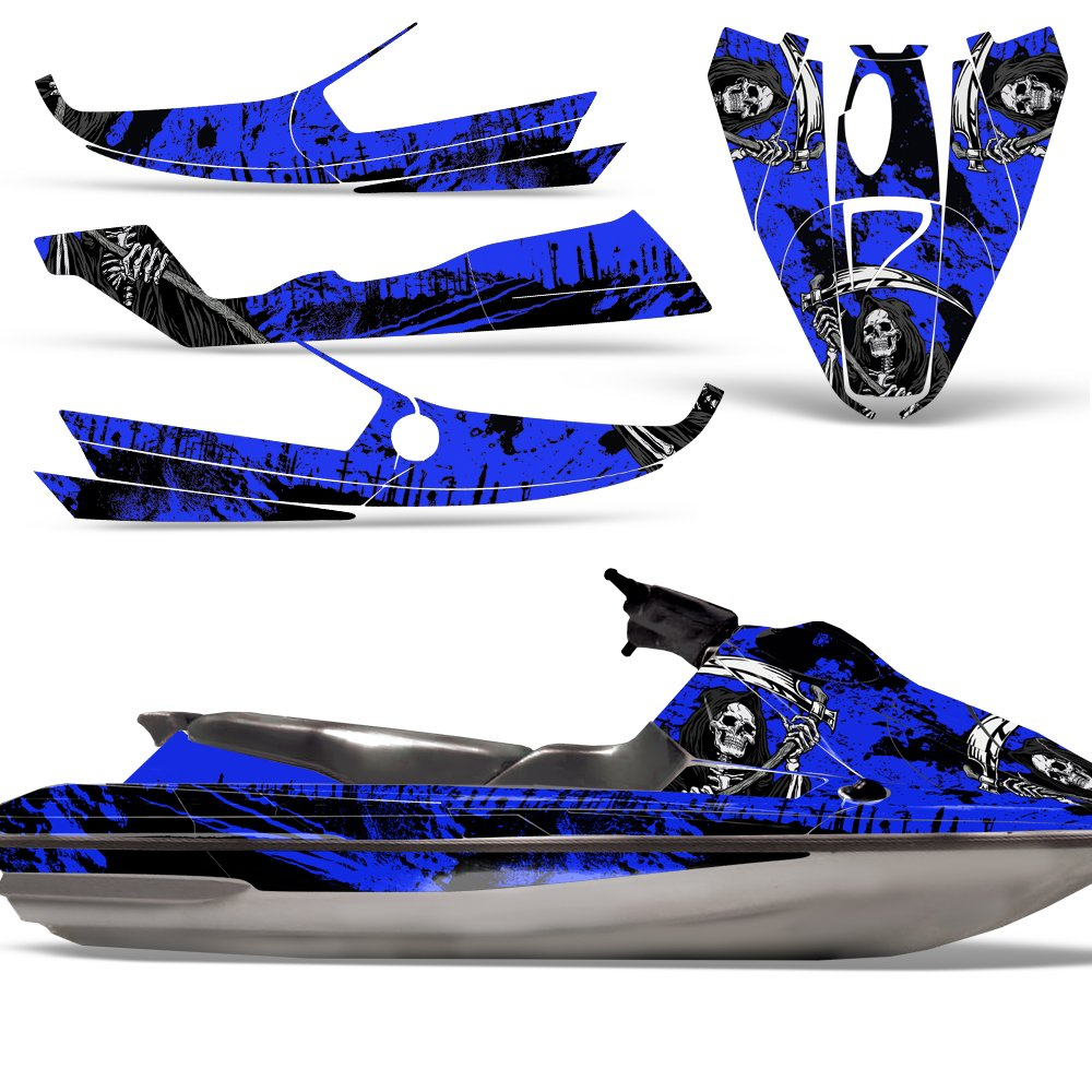 Bombardier SeaDoo GTS 92-97 Decal Graphic Kit Jet Ski Wrap Jetski Sea Doo REAPER BLUE by Wholesale Decals (Image #1)