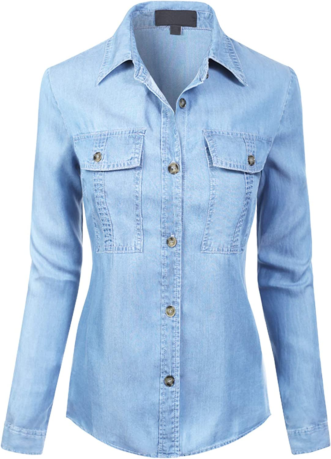 MixMatchy Women's Classic Long Sleeve Button Down Tencel Shirt with Pockets: Clothing