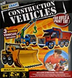 New Boy Craft Construction Vehicles You Build and Paint 'Em 3 Wooden Vehicles Included Includes Everything You Need