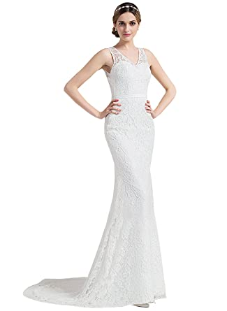 13091505ff Loffy V-Neck Off Shoulder Mermaid Wedding Dresses For Bride Lace Applique  Bridal Gowns at Amazon Women s Clothing store