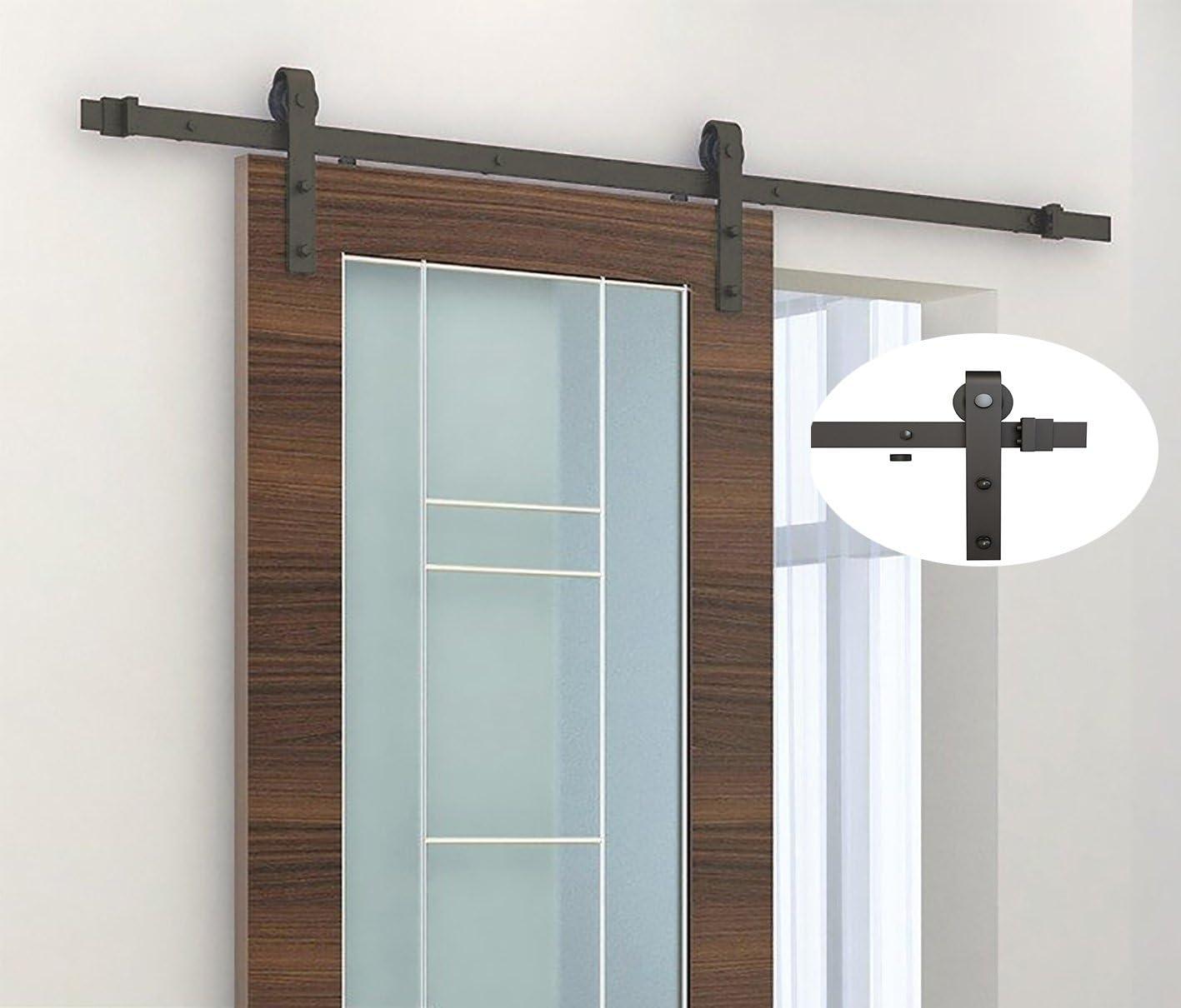 tenive estilo antiguo sistema de guía de acero al carbono Puerta de granero corredera de madera Hardware Set – marrón: Amazon.es: Bricolaje y herramientas