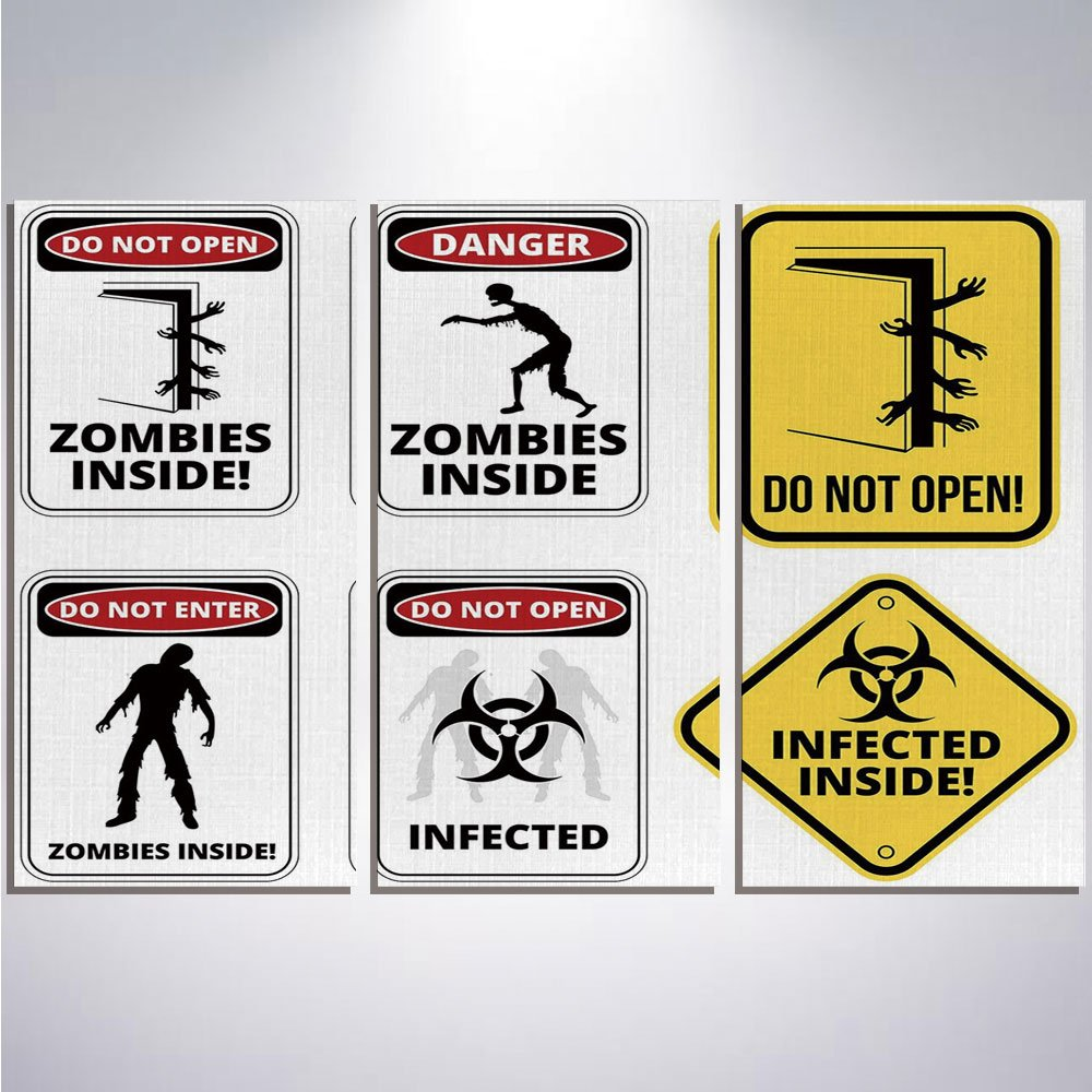 3 Pieces Modern Painting Canvas Prints Wall Art For Home Decoration Zombie Decor Print On Canvas Giclee Artwork For Wall DecorWarning Signs for Evil Creatures Paranormal Construction Do Not Open Artwo