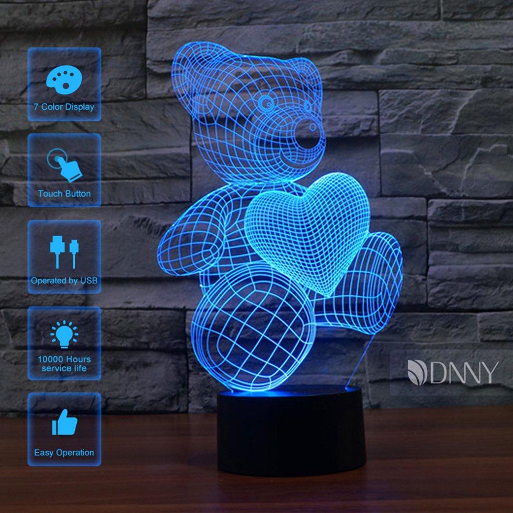 マルチカラー3d Illusionナイトライト7色変更Optical Illusion LEDランプUSBタッチボタン MXSX-NL-524F B07175GW4F 13424 Heart Bear Heart Bear