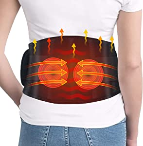 Heating Pad for Back Pain- Dreamegg Heating Pad for Lower Back Pain Relief with Vibration, Fast Heated Massage Pad with Adjustable Belt, Rechargeable or Adapter, Heating Waist Belt for Abdominal Cramp