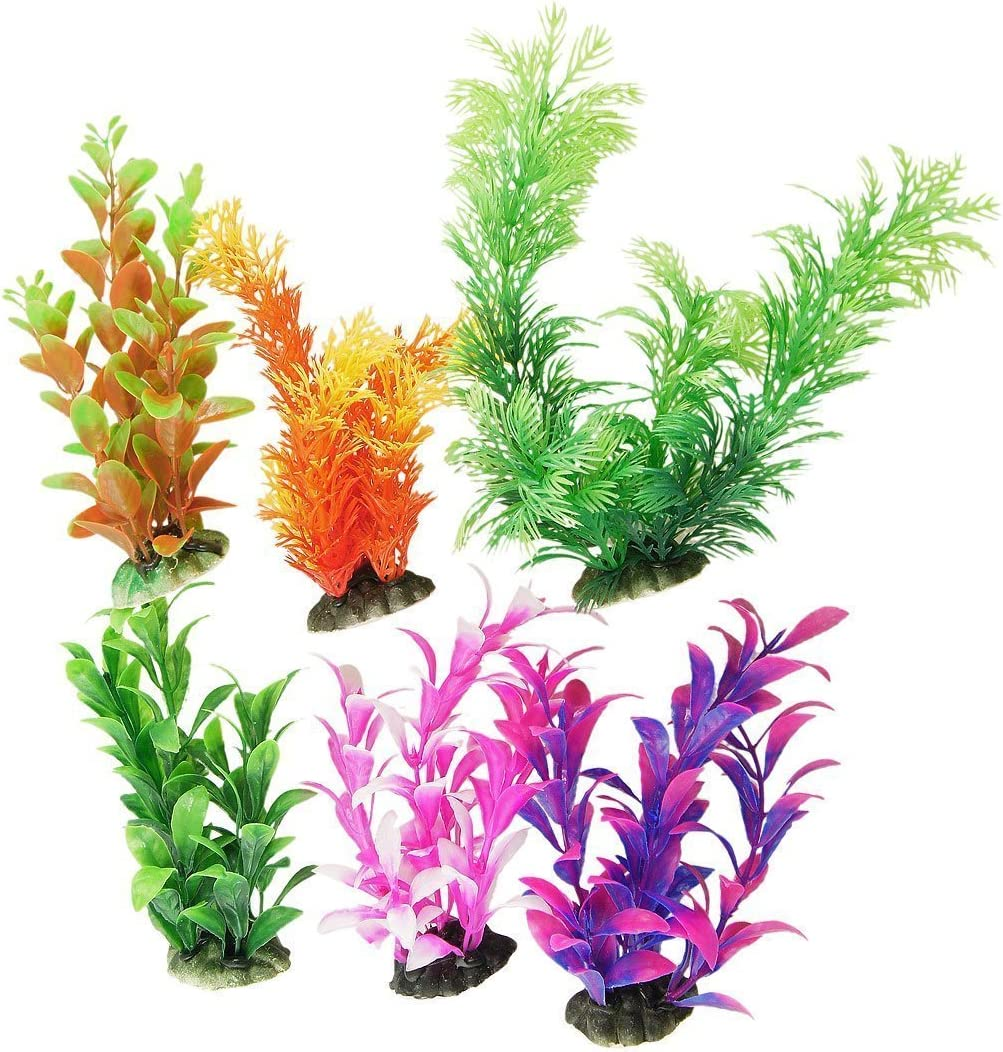 CNZ 6 Pcs Assorted Color Aquarium Plastic Plant Decoration w Ceramic Base