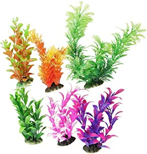 CNZ 6 Pcs Assorted Color Aquarium Plastic Plant Decoration w Ceramic Base