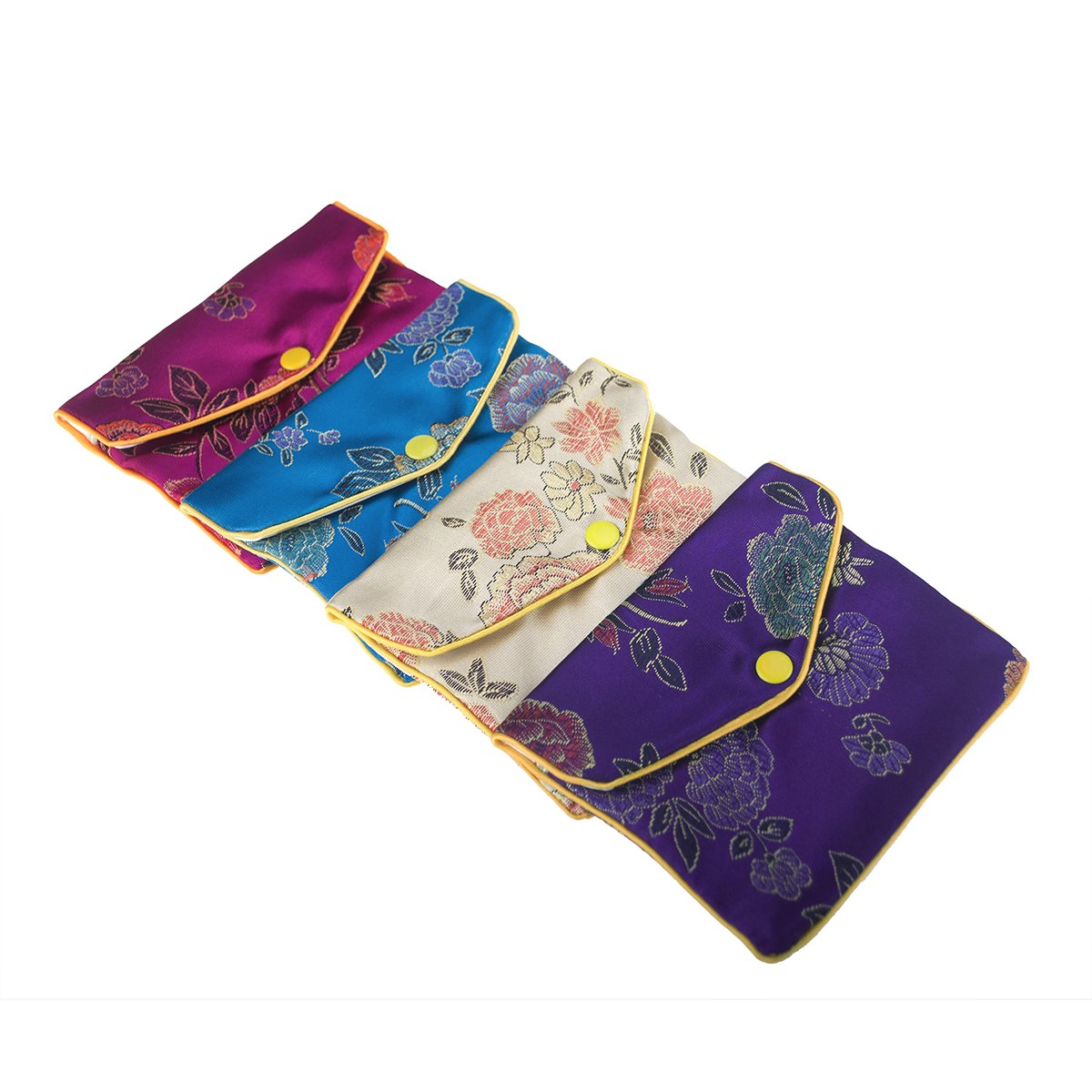 Aspire 24 PCS Brocade Jewelry Pouches, Zipper Purse, Favor Bag, 4 x 4-3/4 Inch-Assorted