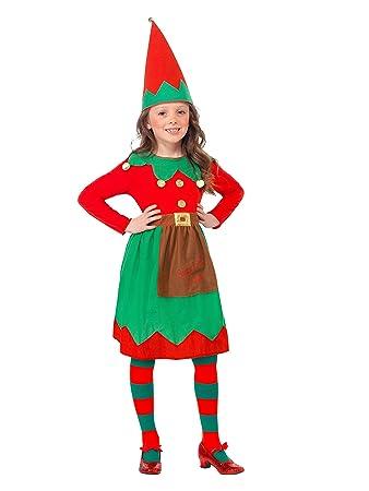 Smiffys-39104S Disfraz Infantil de ayudanta de Papá Noel, con Vestido y Gorro, Color Rojo y Verde, S-Edad 4-6 años (SmiffyS 39104S)