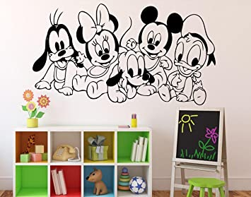 Disney Cartoon Baby Characters Wall Decal Mickey Mouse Vinyl Sticker Wall  Art Decor Childrenu0027s Kids Room