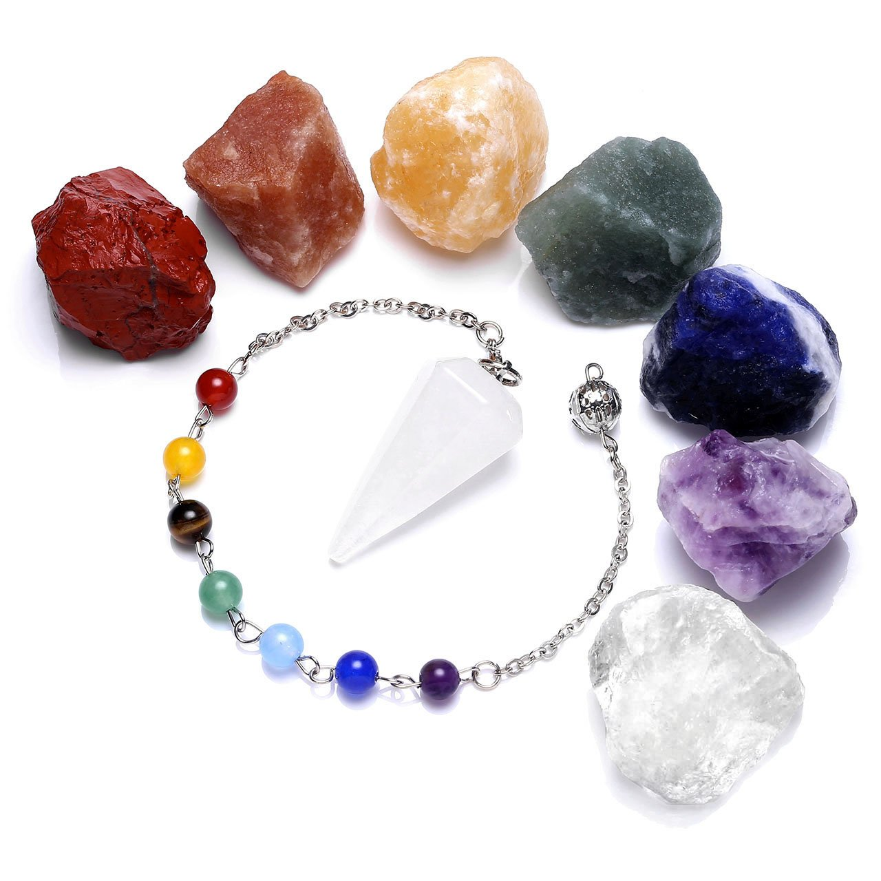 Top Plaza 7 Chakra Healing Raw Gemstones and Natural Clear Quartz Dowsing Pendulum Hexagonal Point Stones Pendant Reiki Balance Meditation Jewelry Sets