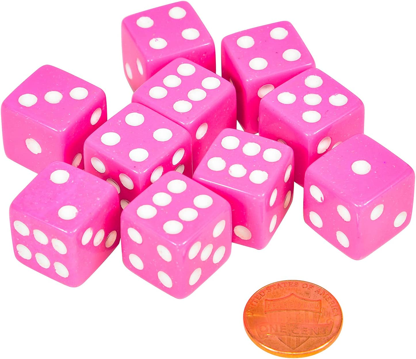 Set of 10 Six Sided Square Opaque 16mm D6 Dice Pink with White Pip Die