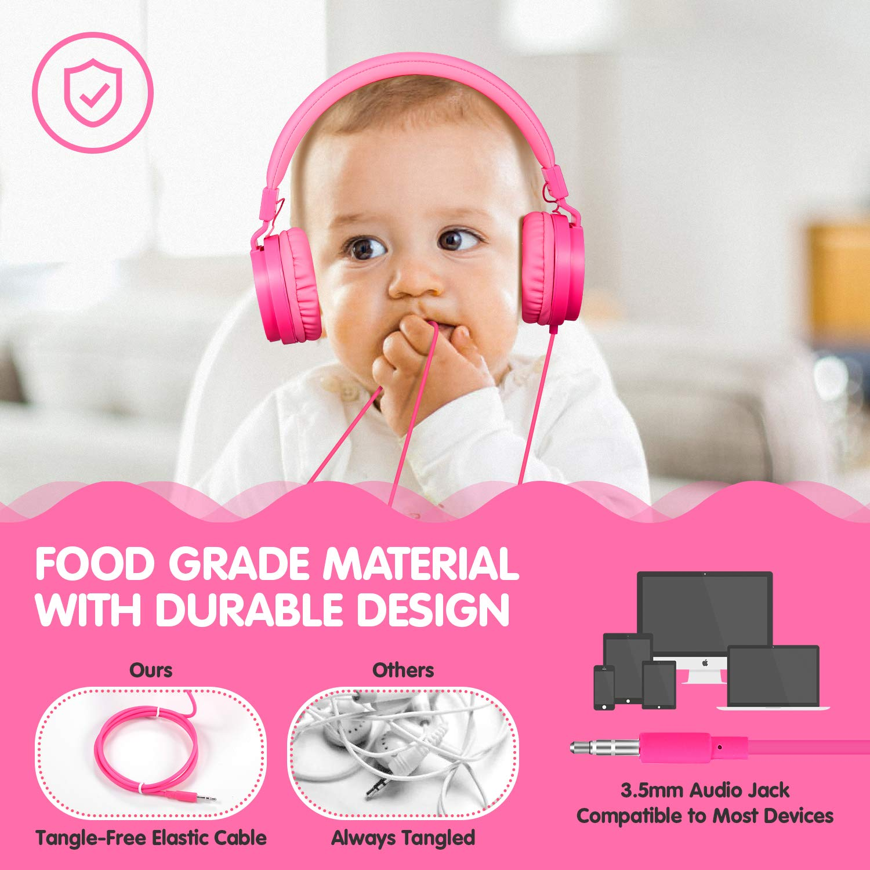Pink ONTA gorsun Foldable On Ear Audio Adjustable Lightweight Headphone for Kids Cellphones Smartphones iPhone Laptop Computer Mp3//4 Earphones