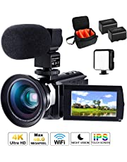 4K Camcorder Ultra HD Video Camera CofunKool 16X Digital Zoom WIFI IR Night Vision Camcorder 3.0 Inches IPS Touch Screen Vlogging Camera for YouTube with Microphone Wide Angle Lens Mini Tripod