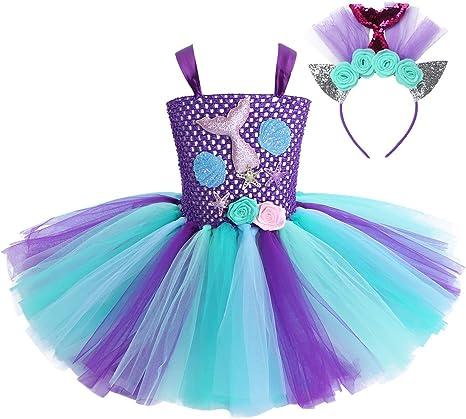 YiZYiF Vestido Tutú Princesa Sirena Niñas Disfraz Sirenita Bebés ...
