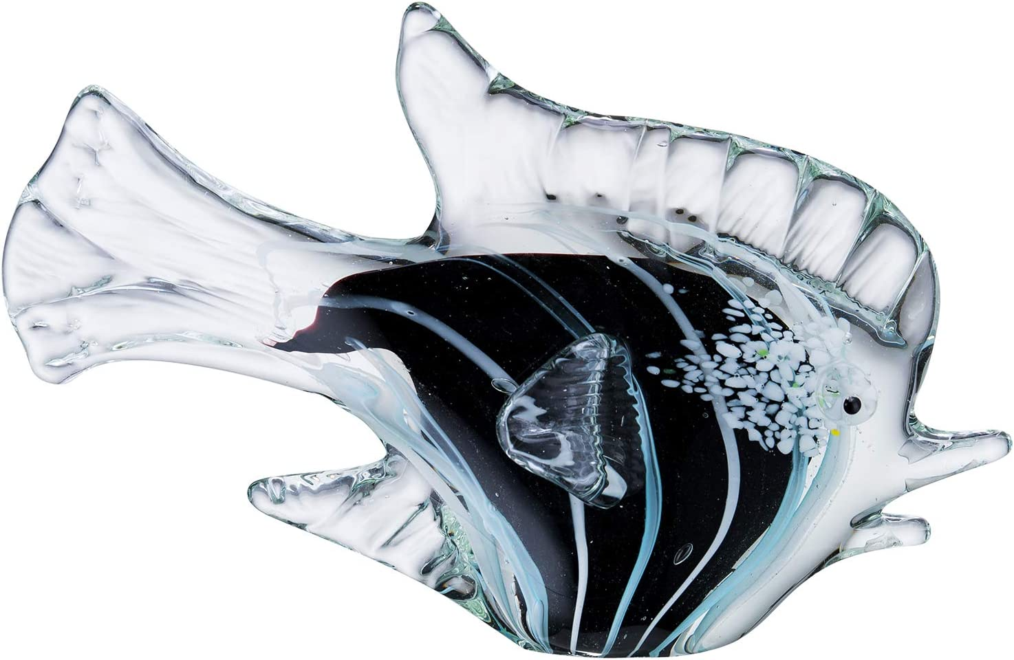 Gorgeous Home Glass Fish Figurines Handmade Art Collectibles Home Decorative Ornaments(Black)