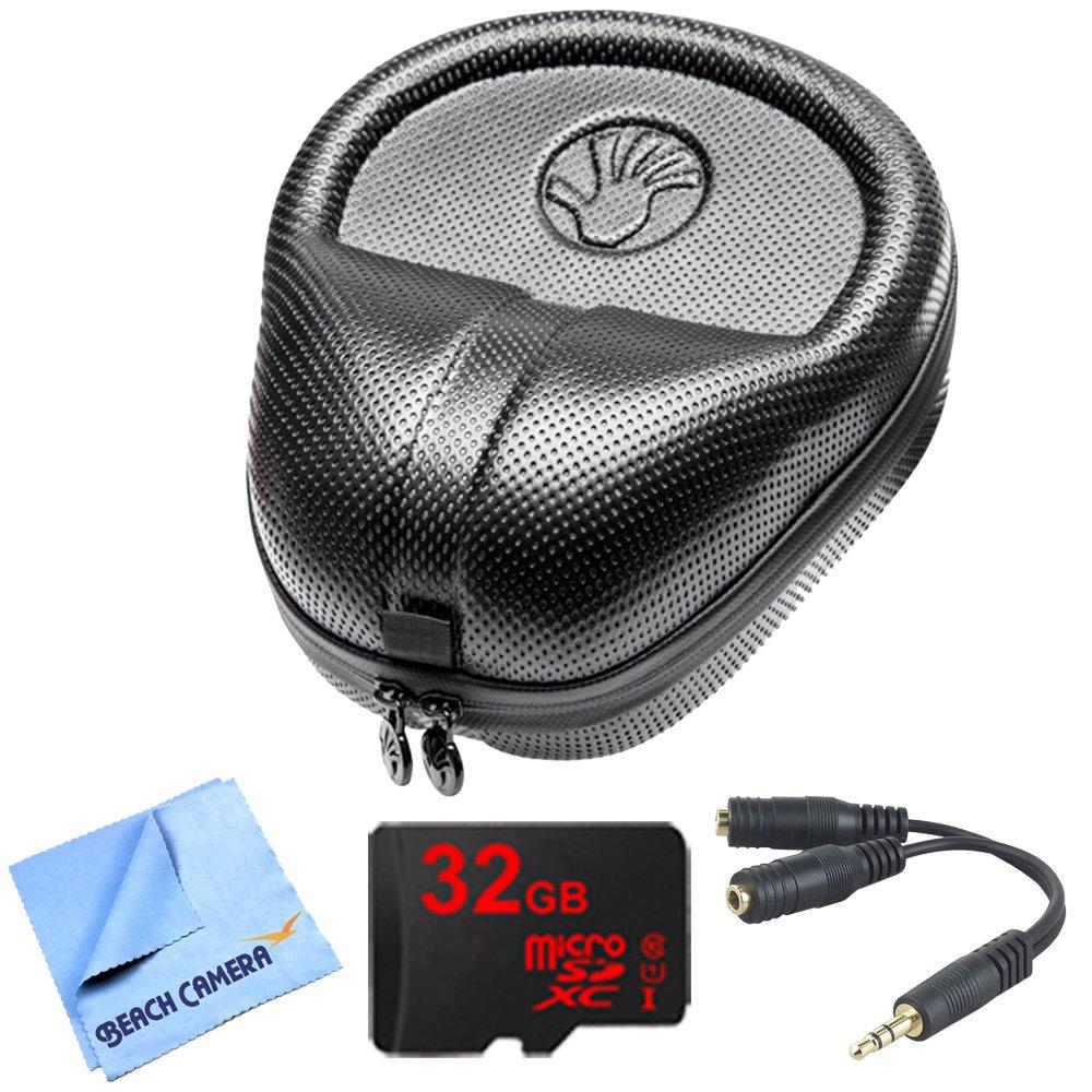 Slappa HardBody Pro Full Sized Headphone Case (Black) includes Bonus Gigastone 32GB MicroSD Memory Card and More