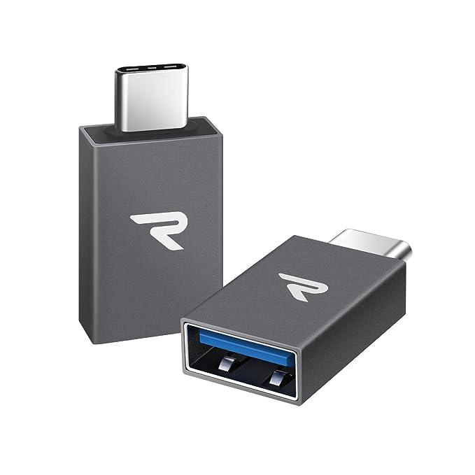Rampow Adaptador USB Tipo C a USB 3.1[OTG] Aluminio Adaptador -Garantía de por Vida- Compatible para MacBook Pro 2016/2017, Huawei, Samsung, ...