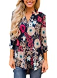 Dokotoo Women Casual Split V Neck Cuffed Sleeve Floral Print Blouses Tops (9 Floral Pattern)