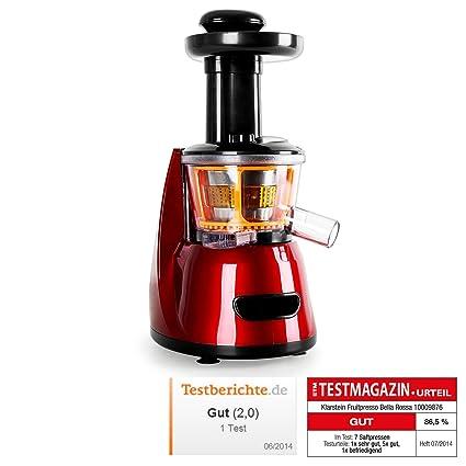 Klarstein Fruitpresso Bella Rossa • Extractor de Zumo • juguera Vertical • colador de Acero Inoxidable