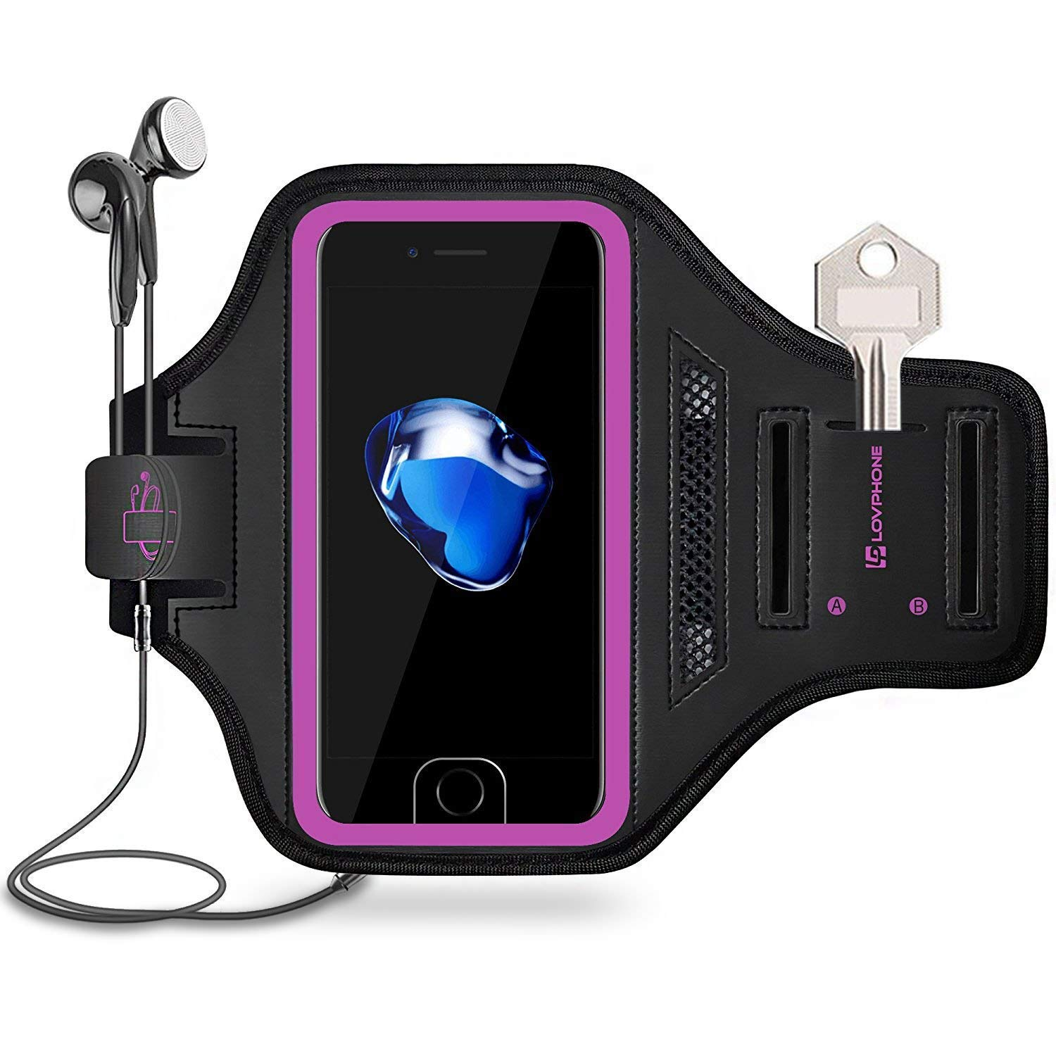 LOVPHONE Man/Women Running Sport Armband for iPhone 7/8 Plus Suitable for Gym Workout w/Kickstand Key Bag Earbuds Holder Card Slot Case, Water Resistant (Rosy)