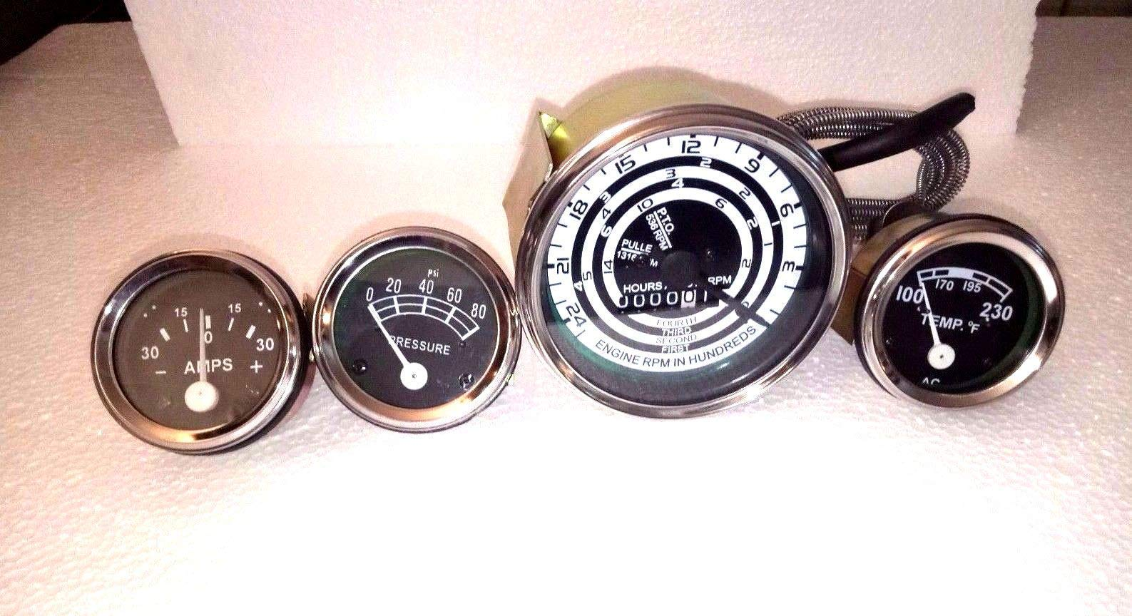 Ford Tractor Temp Amp Oil Tach Gauge Set for Mod 600 700 800 900 1800 2000 4000 in Chrome bezel