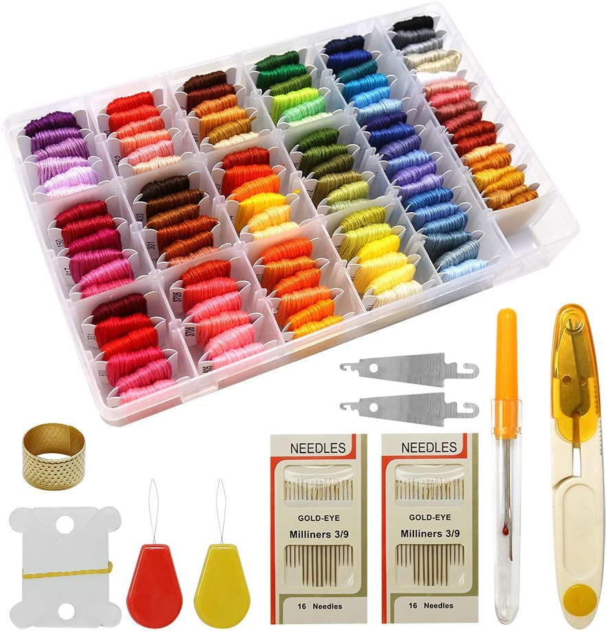 Cross Stitch Embroidery Floss Kits with Organizer Storage Box Friendship Bracelets Floss String 108 Colors Embroidery Thread String for Sewing Knitting DIY Crafts