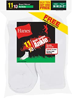 Hanes Boys` EZ-Sort 11-Pack Ankle Socks 422/11