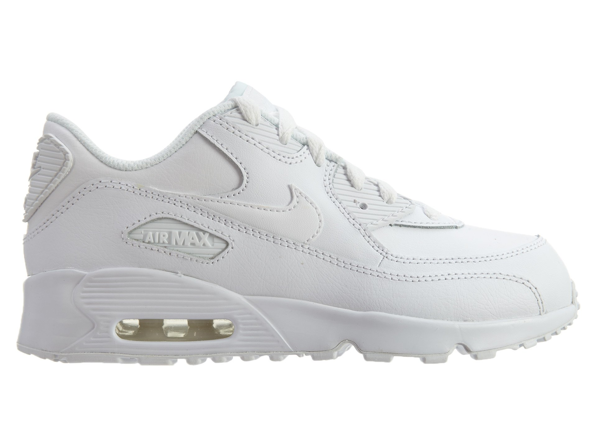 NIKE Boy's Air Max 90 Leather (PS) Shoes, White/White 2.5Y