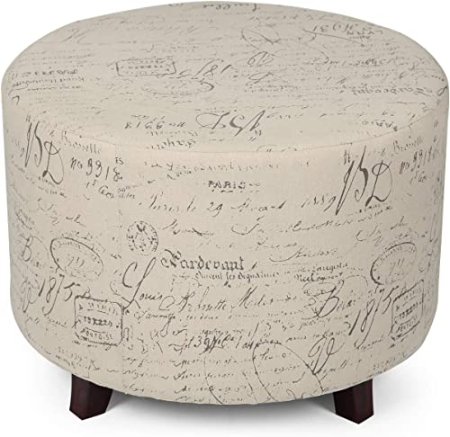 Homebeez Round Ottoman Footstool Small Vintage Footrest