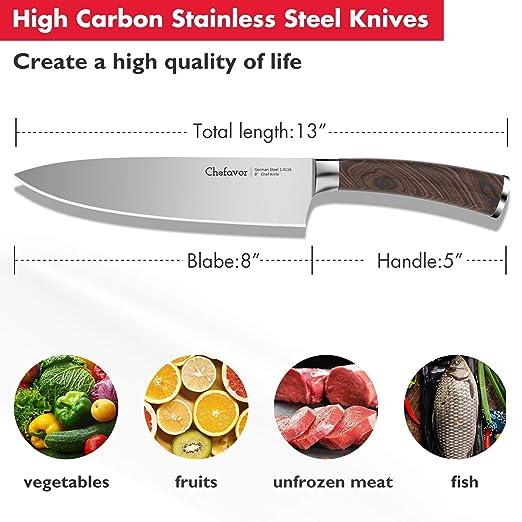 Amazon.com: Cuchillo de chefavor profesional de acero ...