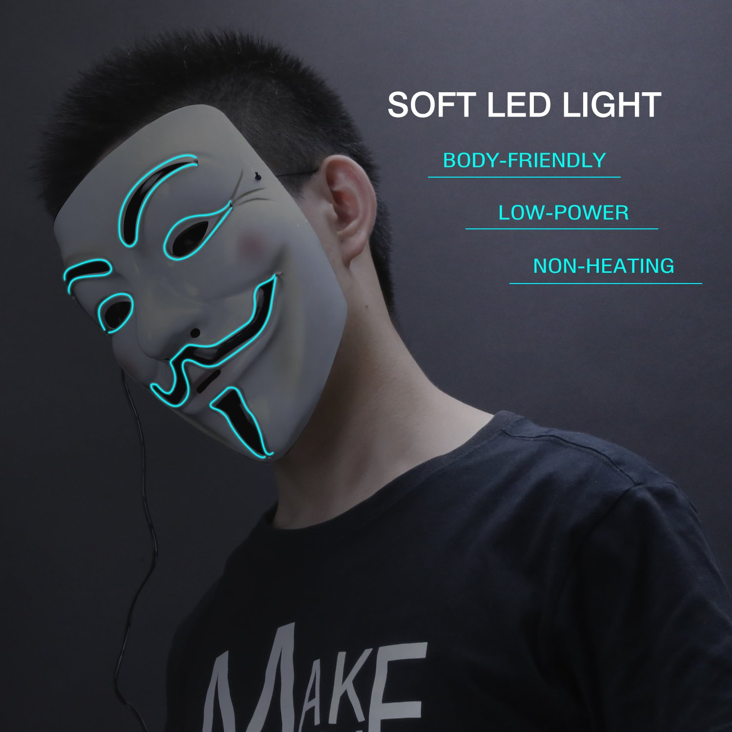 Amazon.com: Zooawa EL Wire LED Mask, Light Up Luminous Glowing Cool ...