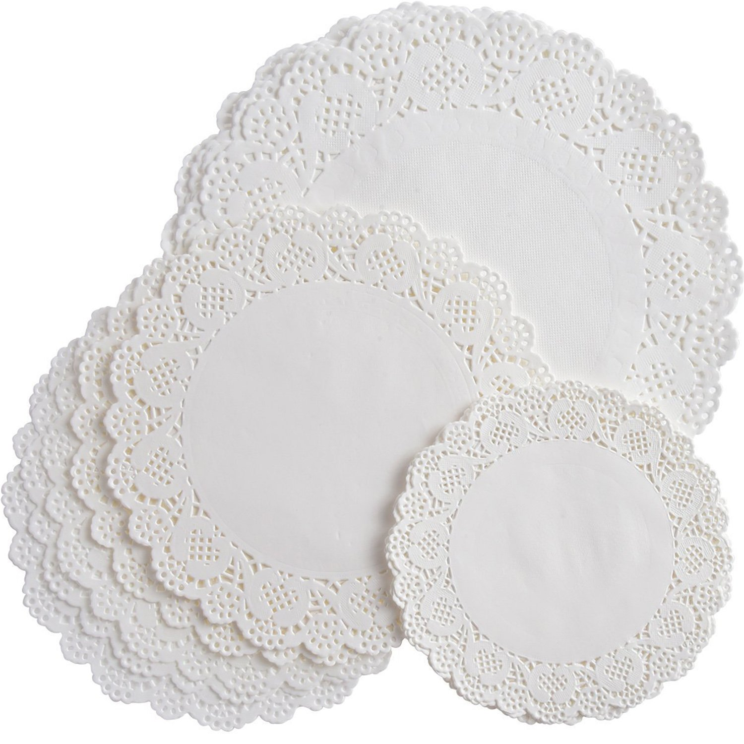 Bememo 108 Pieces White Round Paper Doilies Lace Doily Cake Packaging Paper Pad for Party Wedding Decorations, 3 Sizes