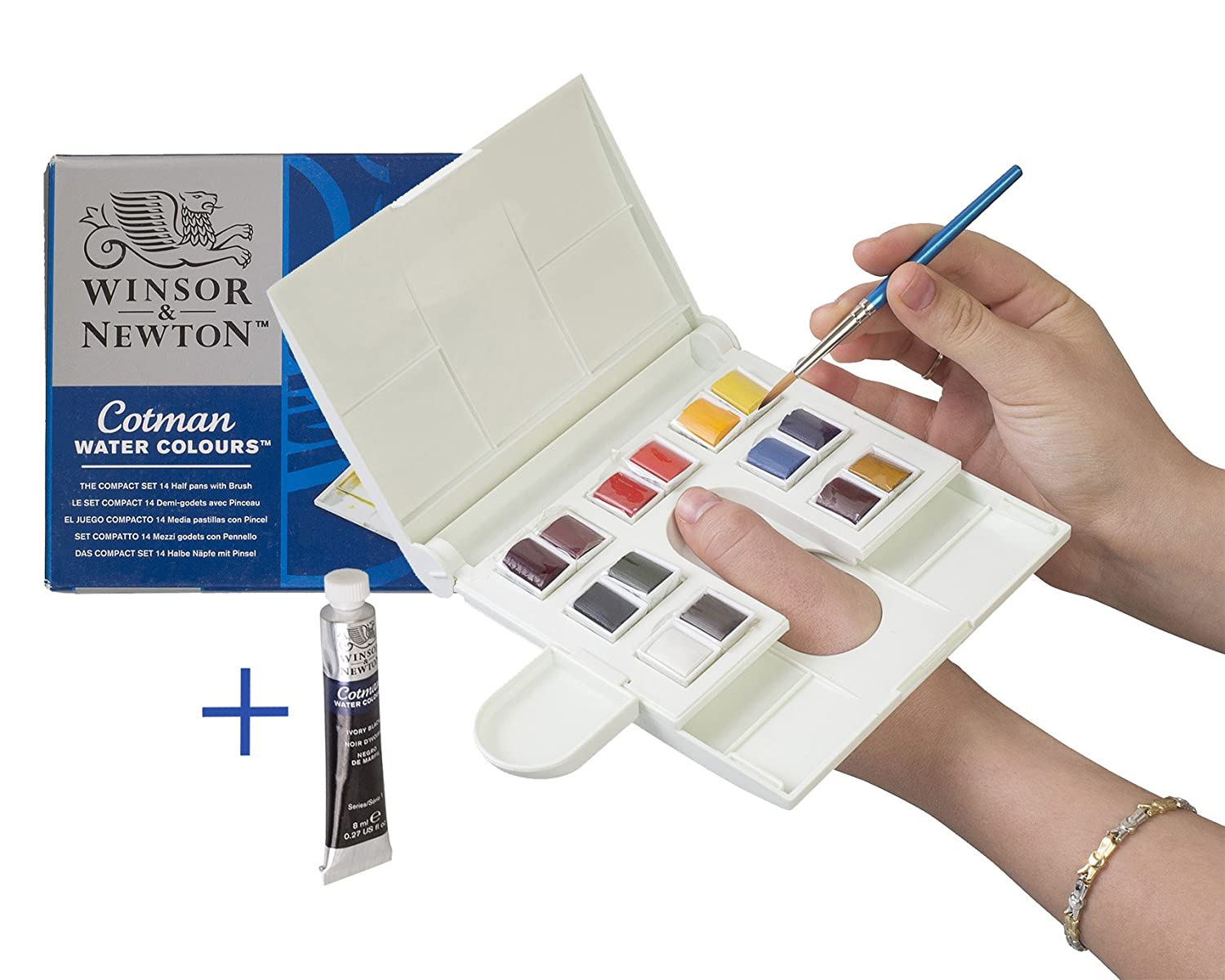 Winsor & Newton Cotman Watercolor Travel Set + 8ml Tube of Ivory Black: 14 Half Pans with Water Well, Mixing Tray, Included Size 5 Field Brush and 5 section palette Built-In - Perfect for Plein Air Painting outdoors