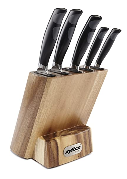 ZYLISS Control Kitchen Knife Set with Block - Professional Cutlery Knives- Premium German Steel -