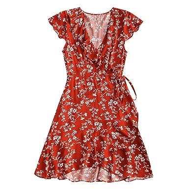 URKFKJD V-Neck Short Sleeves Ruffle Bowknot Vintage Dresses Casual Summer Female Dress Vestidos