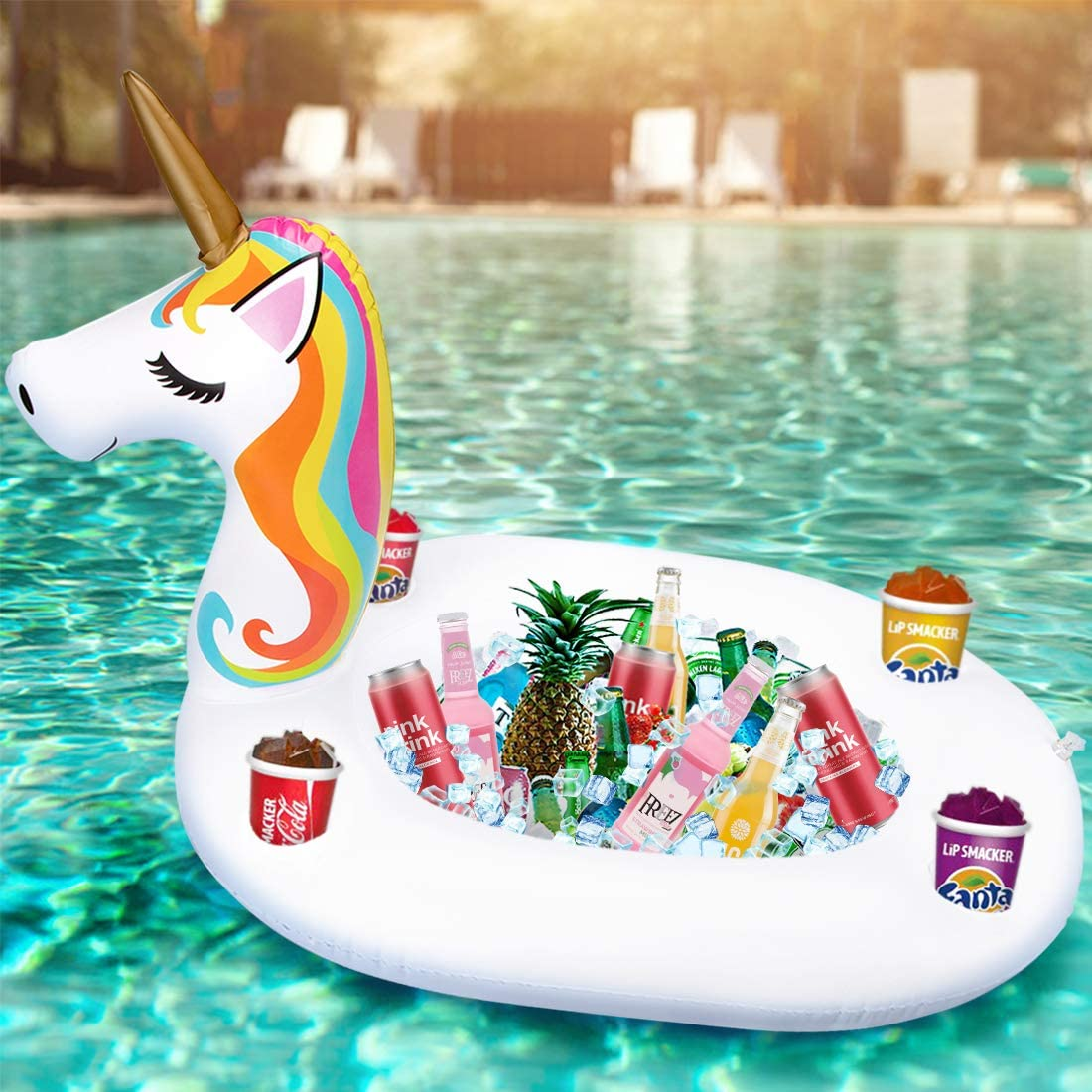 Inflatable Unicorn Serving Bar Ice Buffet Cooler Salad Food Drink Holder Beverage Fruit Candy Floating Tray Pool Party Picnic BBQ Supplies