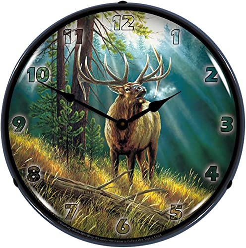 Calling All Challangers Elk By Rosemary Milette Lighted Wall Clock