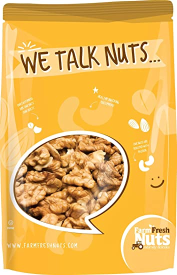 Farm Fresh Nuts Crunchy Dry Roasted Unsalted California Walnuts, 2 lb