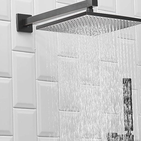 BWE - Juego de alcachofa de ducha de lujo, cuadrada, de lujo, para montar en la pared, sistema de alcachofa de ducha de efecto lluvia, de bronce, con cuerpo de válvula y
