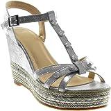 cbcf0ef32978dc Angkorly Chaussure Mode Sandale Mule Salomés Plateforme Lanière Cheville  Femme Clouté Brillant Corde Talon Compensé…