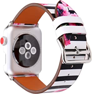 NewSilkRoad 40mm 38mm Classic Plaid Pattern with Floral Leather Replacement Watch Band Strap with Stainless Metal Buckle Compatible with Apple Watch Series 4/3/2/1 Sport & Edition (K)