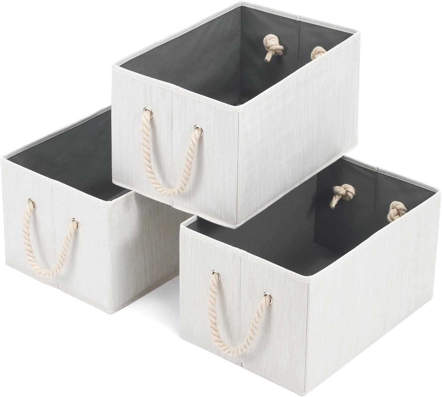 Magicfly Foldable Storage Cubes, Polyester Cloth Bins Fabric Basket Organizer,14.4 X 10 X 8.3 inch,Beige, Pack of 3